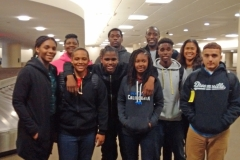 Education and Basketball Enrichment Program winners arrive at Minneapolis-St. Paul Airport in Minnesota.