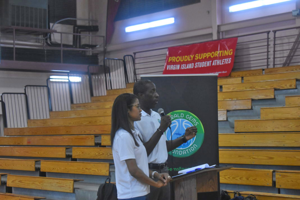 Milt and Shalaun Newton address the audience at Ivanna Eudora Kean High School.