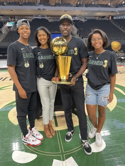The Newton Family on the court after the Milwaukee Bucks won the 2021 NBA Championship.